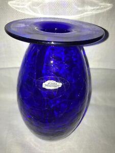 Blenko-Hand-Craft-Foil-Sticker-Hand-Blown-Cobalt-Blue-Art-Glass-Large-Vase-MINT