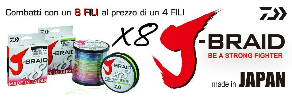 TRECCIATO Angeln 8 FILI J BRAID 1500 MT DAIWA J-BRAID Angeln BOLENTINO MULINELLO