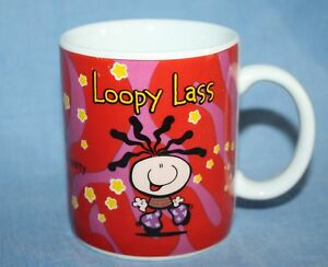 LOOPY-LASS-Red-White-Flower-Carlton-Card-Coffee-Mug-Bubblegum-Gag-Gift-Cup