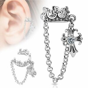 Crown-with-Chain-and-Clear-CZ-Set-Cross-Dangle-Non-Piercing-Ear-Cuff-Single