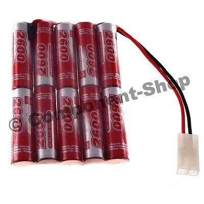 12V 2600mAh AA Vapex flat 5x2 NiMH battery power pack, Tamiya connector