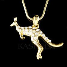 w Swarovski Crystal ~Kangaroo~ Aussie Australian Joey Gold Tone Necklace Jewelry