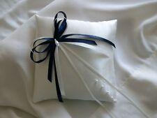 Ivory & Navy Satin Wedding Ring Cushion Hand Crafted