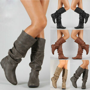 Womens Knee High PU Leather Flat Boots Ladies Mid-calf Biker Slouch Boots Shoes