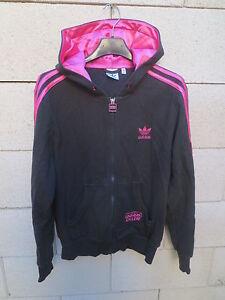 Détails sur Veste à capuche ADIDAS CHILE 62 Trefoil noir rose tracktop jacket femme 42 coton