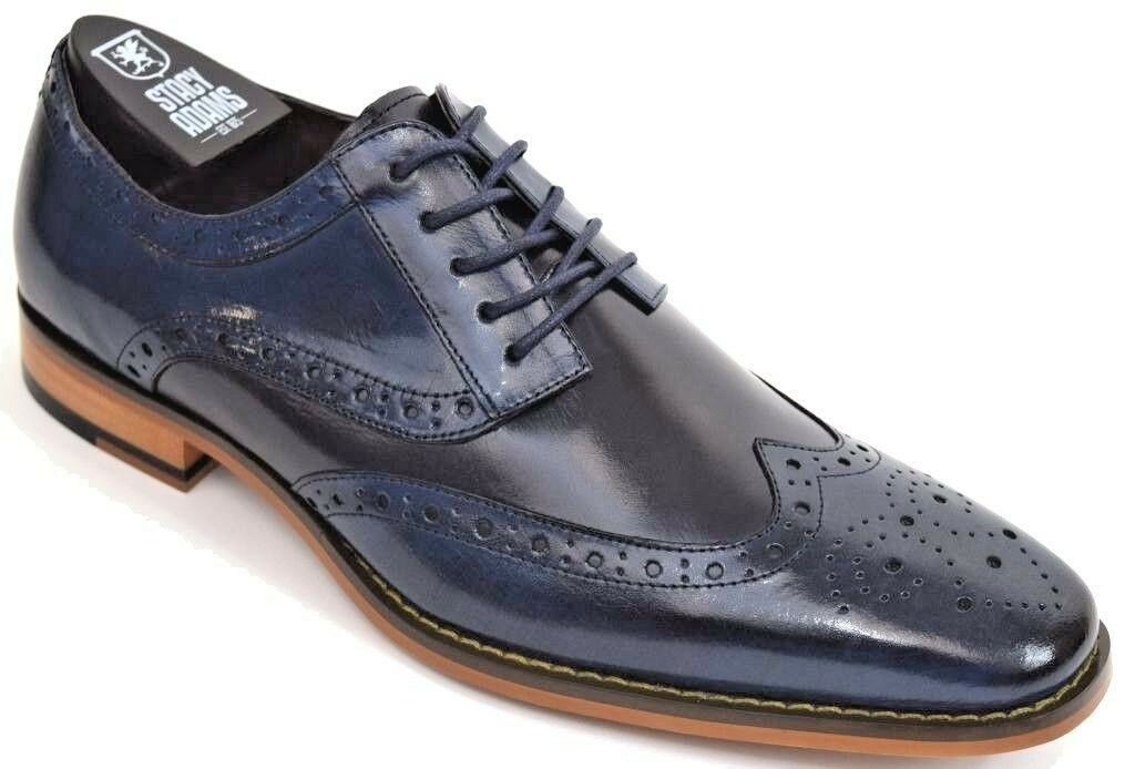 Mens STACY ADAMS Dress shoes Wing Tip Oxford CobaltNavy Leather TINSLEY 25092 11