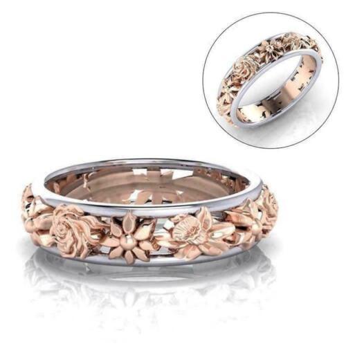 Rose Gold gefüllt Inlay Kristall Hochzeit Verlobungsring Set P3W5 D0E3 Weiß