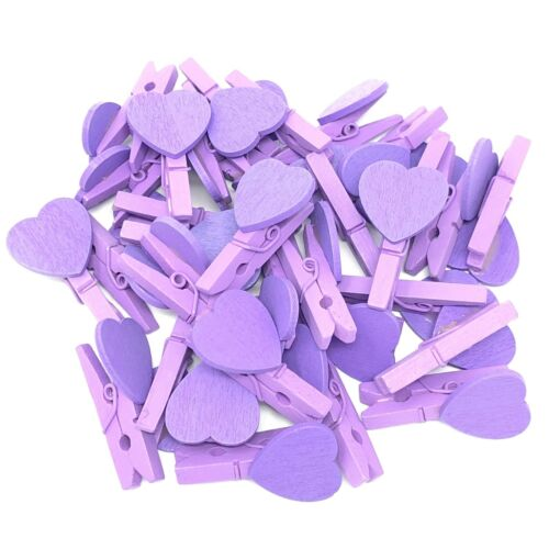 30mm Mini Clothes Pegs with 18mm Matching Hearts Craft For Shabby Chic Wedding