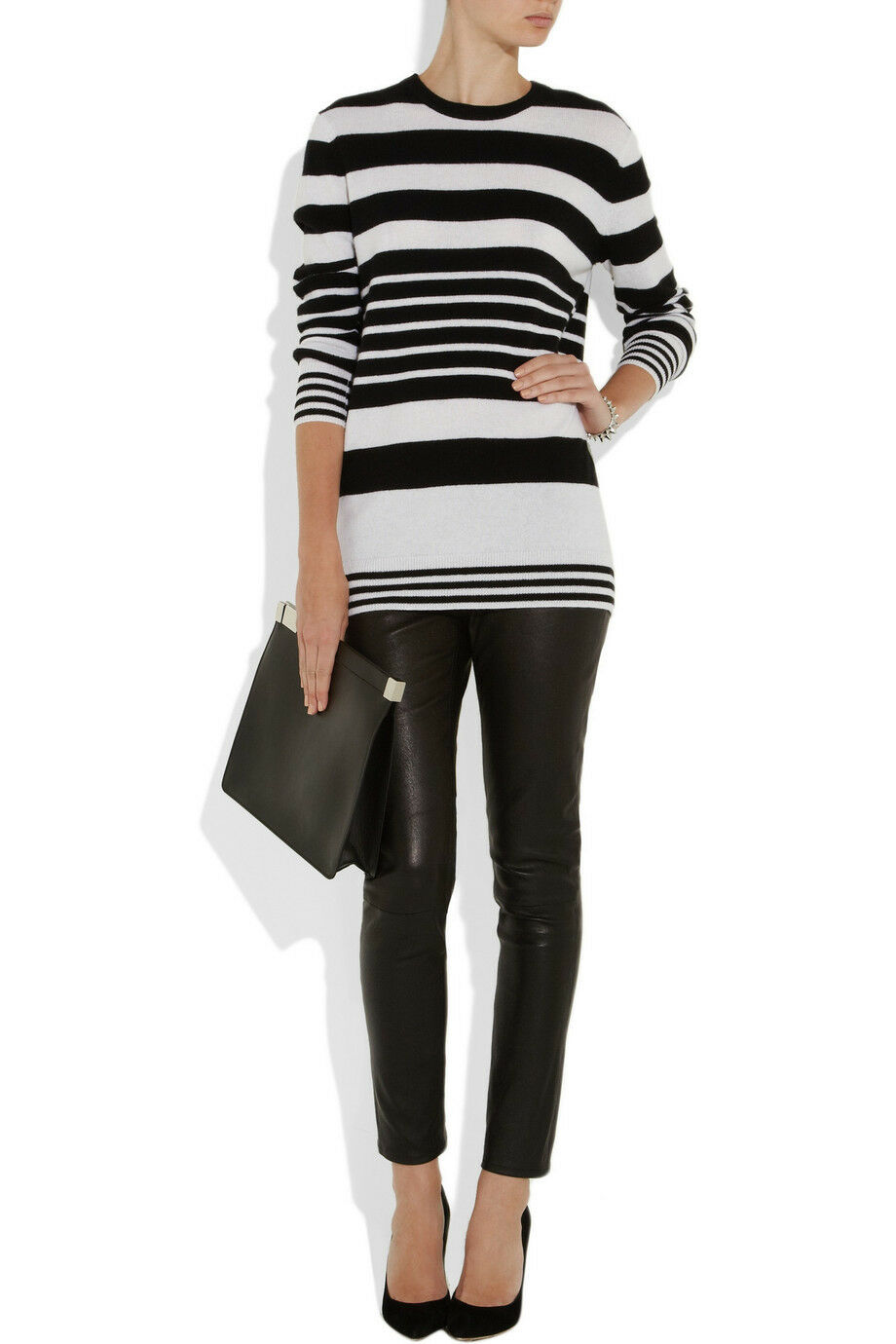 275 Equipment REI Red Ivory Cashmere Stripe Boyfriend Tunic Sweater S P