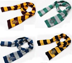 Harry-Potter-Gryffindor-Slytherin-Hufflepuff-Ravenclaw-Scarf-Scarves-Hat-Ties-UK