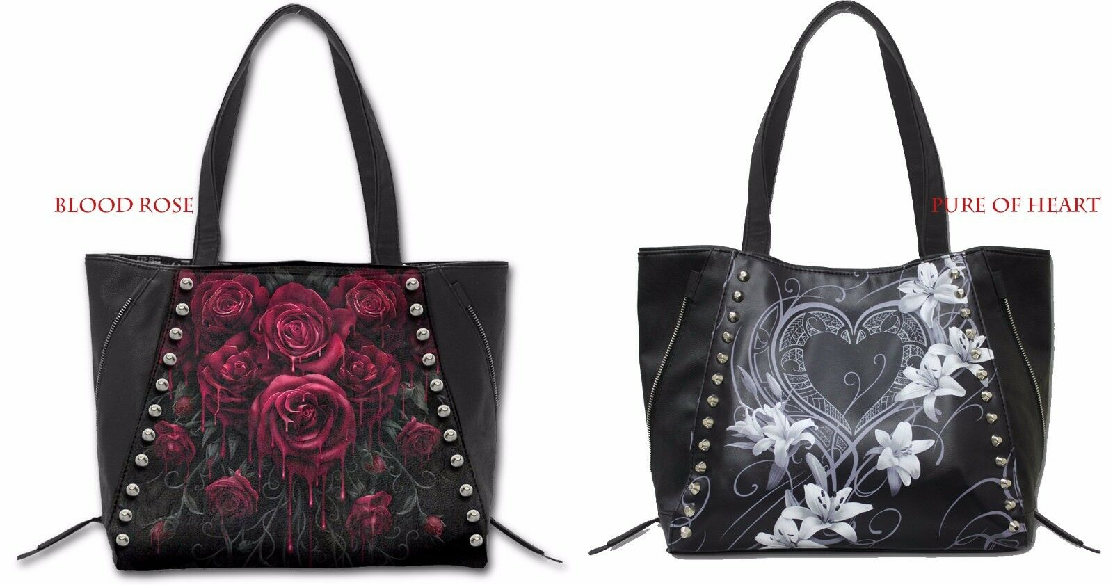 SPIRAL DIRECT PURE OF HEART TOTE BAG TOP QUALITY PU LEATHER STUDDED/Roses/Tattoo