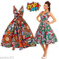 SARAH-P FUN ABSTRACT POP ART 50'S RETRO SWING ROCKABILLY DRESS SIZE 10-28 NEW