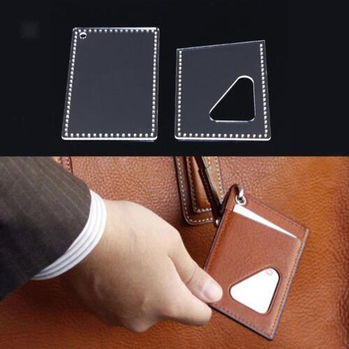 2pcs Mini Card Holder Case Acrylic Leather Craft Pattern Stencil Templates