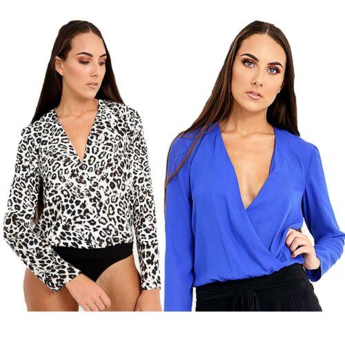 WOMEN'S Manica Lunga Avvolgere Body Calzamaglia collo V blu bianco L Donna Estate Top