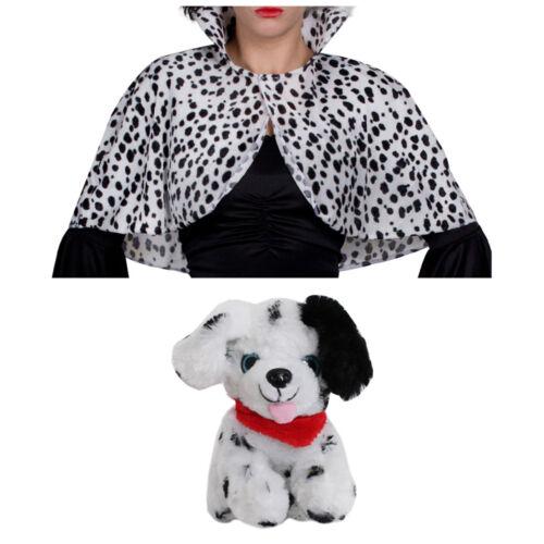 ADULTS EVIL DOG LADY CAPE TOY DOG SET HALLOWEEN DALMATIAN MOVIE FANCY DRESS