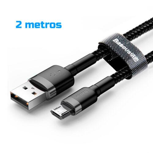 Cable Micro USB reversible carga rapida reforzado nylon BASEUS 2.4A negro gris