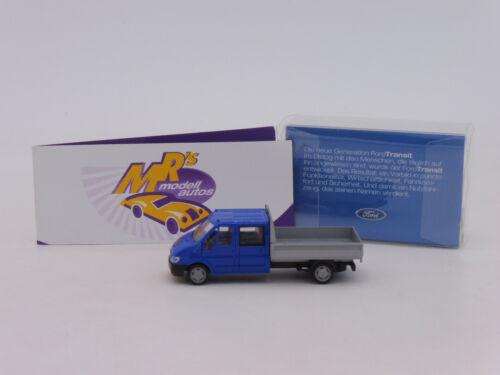 "Rietze Sondermodell # Ford Transit Doppelkabine Pritsche /"" blau-grau /"" 1:87"