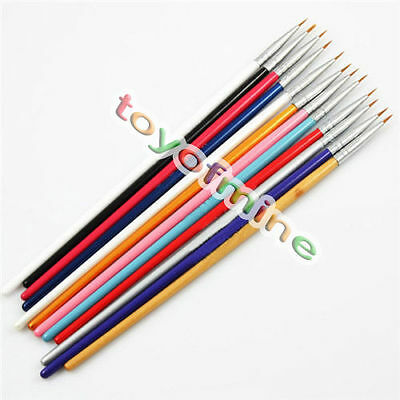 12 pcs Colorful Nail Art Design Brush Pen Fine Details Tips Drawing Paint Set