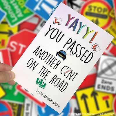 Congrats Driving Test Card Passed Driving Test New Driver Funny Joke Cars PC109
