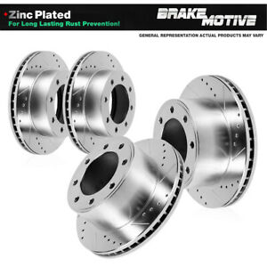 Front and Rear Drilled Slotted Brake Rotors For Ford F-350 Super Duty Dually