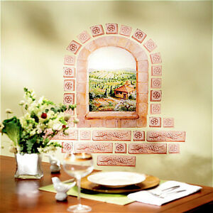 WALLIES-TUSCAN-WINDOW-wall-stickers-MURAL-31-decals-Italy-bricks-scenic-decor