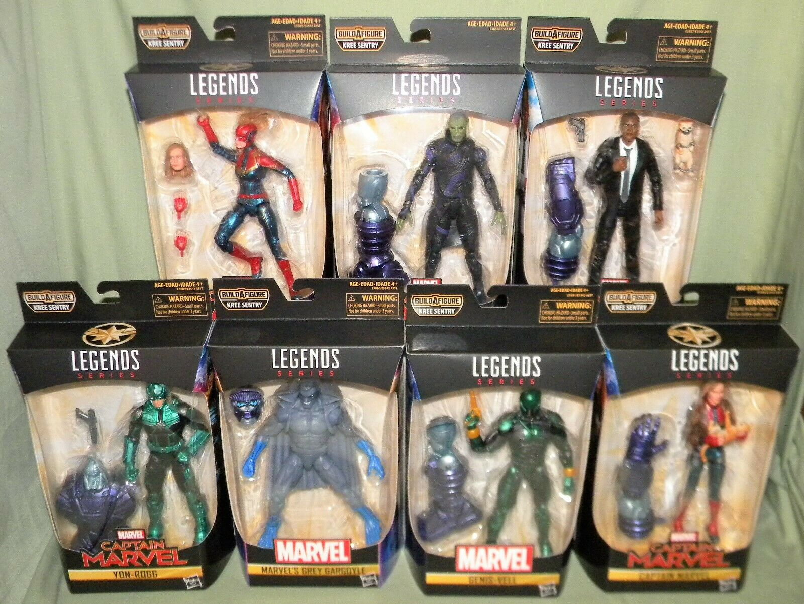 CAPTAIN MARVL SET OF 7 Marvel Legends Kree Sentry BAF Fury Talos Yon-Rogg Genis