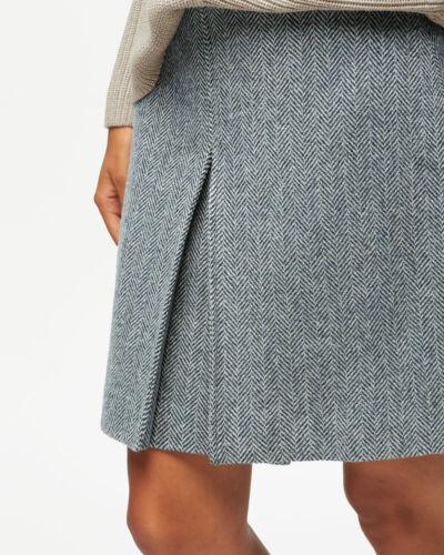 Jigsaw Herringbone Pleat Front Mini Skirt Womens New Blue Navy