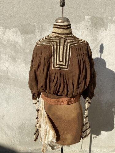 Antique Victorian Brown Silk Bodice Dress Blouse E