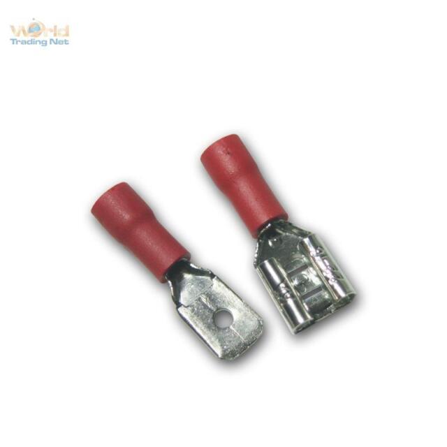 100 Paar Kabelschuhe Stecker & Buchse rot 6,3 x 0,8mm für 0,5-1,5mm² Kabelschuh