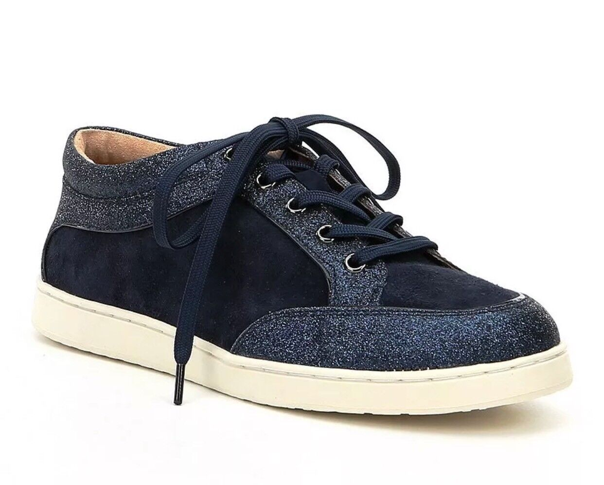 Antonio Melani Alany New Navy Leather Glitter Embellishment Sneakers Size 8.5M