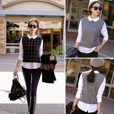 New Blouse Tops Shirt Lapel Long Sleeve Women Winter Casual Pullover Korean
