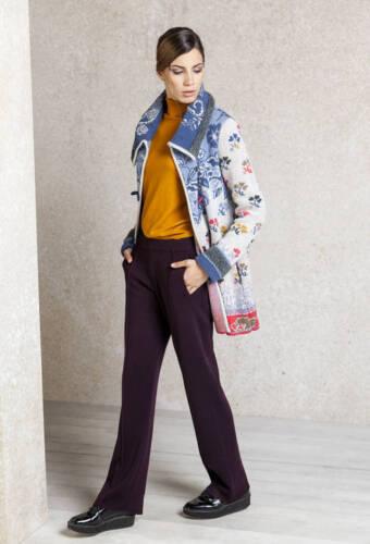 Ivko Strick Jacket Stone Geometric Wolle Pattern mantel Blau Long Floral 62504 rr1gOw
