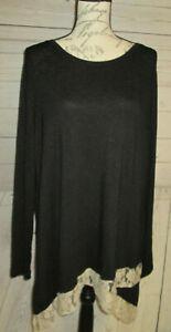 LOGO-LOUNGE-By-Lori-Goldstein-bLACK-Tunic-Top-Shirt-Tee-Women-039-s-L-RK