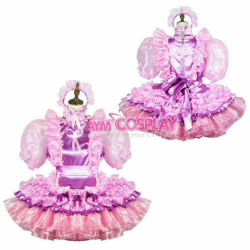 TV Tailored !Free shipping Details about  /Sissy Maid Satin-Organza Dress Neutral CD
