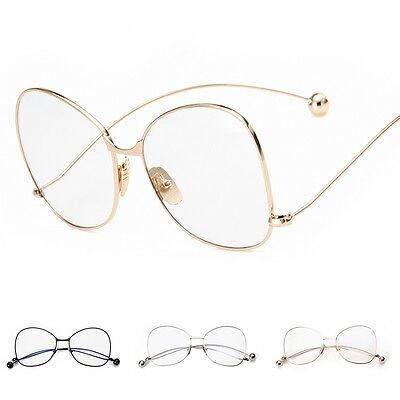 Women Vintage Fashion Oversized Clear Lens Glasses Metal Frame Nerd Geek Eyewear