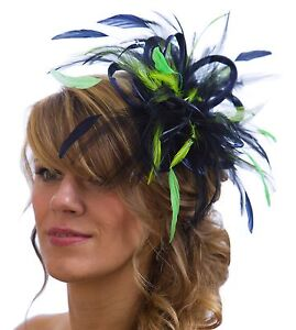 Navy Blue   Lime Green Fascinator Hat  any satin highlight feather ... fc1193558ac