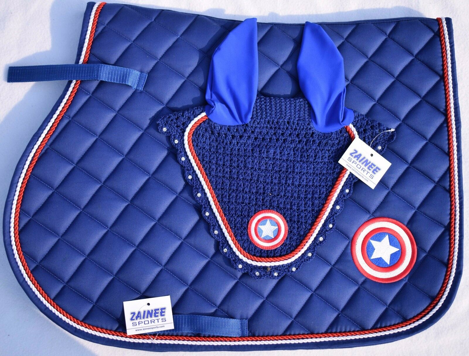 CAPTAIN AMERICA SADDLE PAD SET FLY  VEIL HORSE BONNET DIAMANTE EQUESTRIAN ZAINEE  just buy it