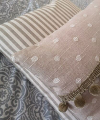 Vintage Beige light brown  taupe linen look spotty dots cushion cover pom pom