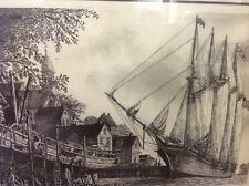 1976 HAND SIGNED ALAN JAY GAINES ETCHING- WILLIAM L. WHITE SCHOONER SHIP BOAT