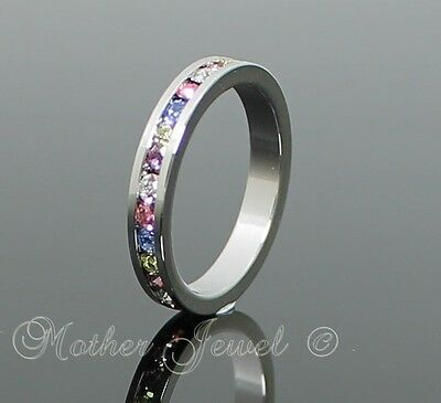 MULTI COLOURED CZ GIRLS LADIES WEDDING ETERNITY STERLING SILVER PLATED BAND RING