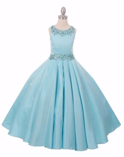 Aqua Satin Princess Gown Flower Girls Dress Quince Wedding Pageant Party 5047