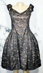 VICTOR-COSTA-NEIMAN-MARCUS-Black-Lace-over-Nude-Fit-And-Flare-Dress-14-Off-Shldr