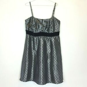 City-Chic-Womens-Silver-Black-Sleeveless-Lined-Dress-with-Back-Zipper-Size-M