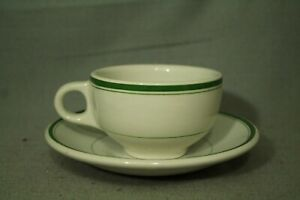 vintage-Newport-Pottery-white-green-stripe-coffee-cup-saucer-Burslem-England