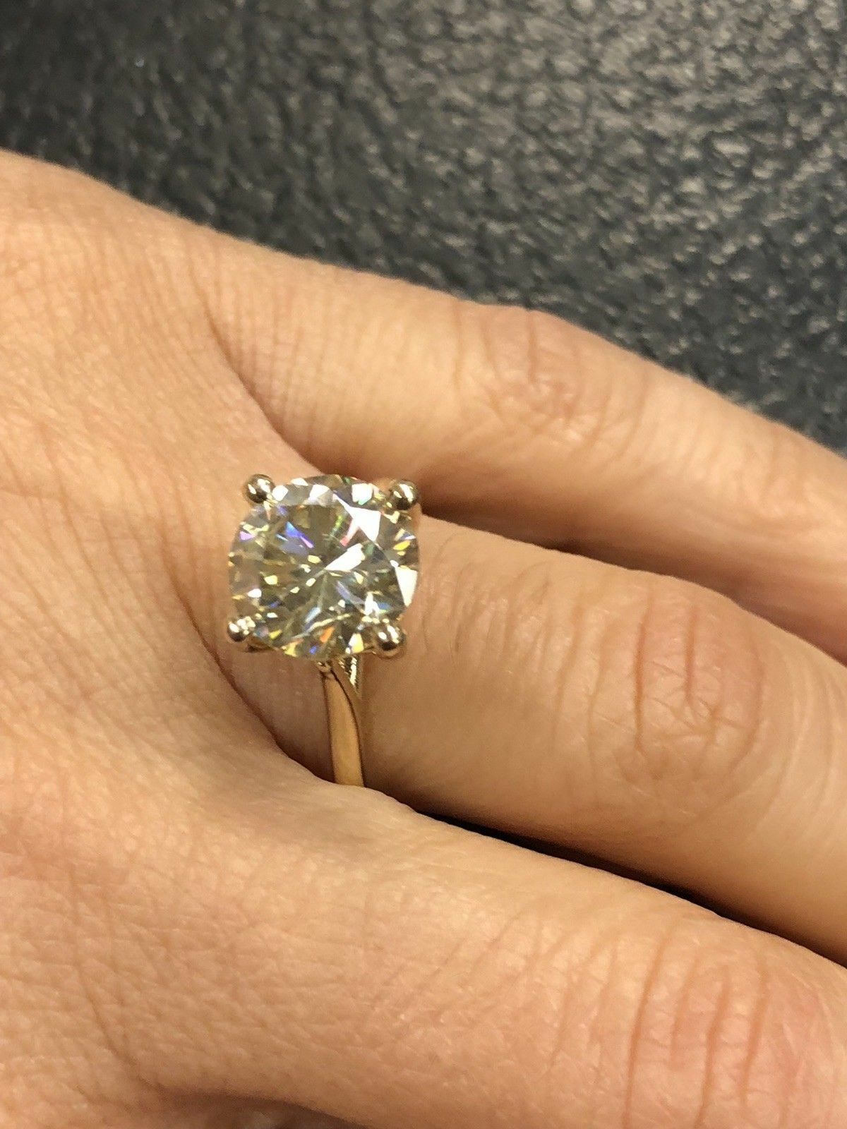 3.00 Ct Round Solitaire Moissanite Engagement Ring 14K Real Yellow gold Rings 01