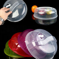 """2 Plastic MICROWAVE PLATE COVER - Clear Steam Vent Splatter Lid 10.23"""" Food Dish"""