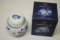 RINGTONS BONE CHINA GINGER JAR & LID BLUE WHITE CHRYSANTHEMUM BOXED