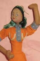 """VINTAGE 11"""" KLUMPE CLOTH DOLL -ISLAND WOMAN-MADE IN SPAIN-1950'S"""