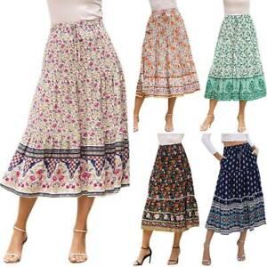 Womens-Ladies-Boho-Floral-Ruffle-Holiday-Beach-Swing-Summer-Beach-Midi-Skirts