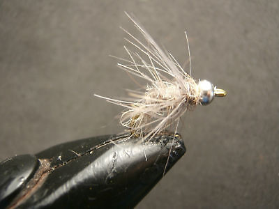 1 DOZEN SILVER BEAD HEAD HARE´S EAR NYMPHS FOR FLY FISHING BH-21